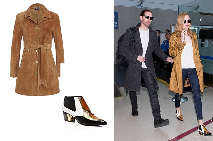 "<p>What's Better In Transit Than A Trench?</p> <p>It's a fact... Wearing a trench coat over any outfit instantly makes it polish, chic and well put together. Kate Bossy knows what we're on about.</p> <p>Trench, $399, <a href=""https://www.bardot.com/bardot/merchandising/by-category/jackets-coats/coats/lexus-suede-trench"">Bardot.</a> </p> <p>Boots, $1306, <a href=""https://www.modaoperandi.com/rodarte-ss14/black-and-white-leopard-calf-hair-bootie?mid=37385&utm_medium=Linkshare&utm_source=Linkshare&utm_content=Hy3bqNL2jtQ&siteID=Hy3bqNL2jtQ-ta_EVH.mQI7_8ebSp9yZLA"">Moda Operiandi</a>.</p>"