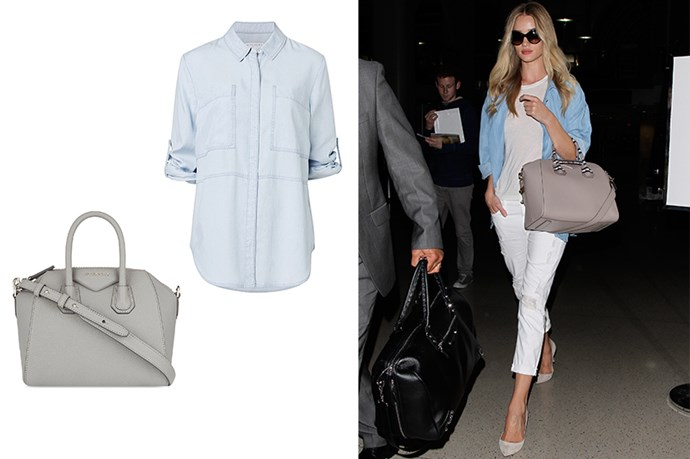 "<p>Use Pastels To Look Perky.</p> <p>Rosie Huntington-Whiteley uses summery hues to help her look refreshed after a long haul trip. Not a good option if you can't be trusted with plane food though.</p> <p>Handbag, $1399, <a href=""http://www.selfridges.com/AU/en/cat/givenchy-antigona-mini-soft-grained-leather-tote_129-3000831-BB05114012/?previewAttribute=Pearl+grey&cm_mmc=PLA-_-GoogleAU-_-Womens-_-GIVENCHY&ci_src=18615224&ci_sku=56475678&$$&_$ja=tsid:78441%7ccid:365703860%7cagid:24"">Selfridges</a>.</p> <p>Shirt, $129.95, <a href=""http://www.witchery.com.au/shop/new-in/woman/clothing/60185448/Patch-Pocket-Shirt.html"">Witchery</a>.</p>"