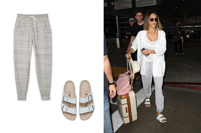 "<p>Comfort Is King.</p> <p>Jessica Alba is something of our in transit dressing dreams. We want to wear this outfit on the weekend, to work and to the airport (sans the white cardigan, once again, plane food.)</p> <p>Sweat pants, $67, <a href=""http://www.countryroad.com.au/shop/woman/clothing/sweats/tie-waist-jogger-60184002"">Country Road</a>.</p> <p>Birkenstocks, $120, <a href=""http://www.generalpants.com.au/shop-womens/birkenstock/footwear/arizona-white-1000047672-010?gclid=CNmxx4Pb0skCFQqkvQodTr4J_Q"">General Pants</a>.</p>"