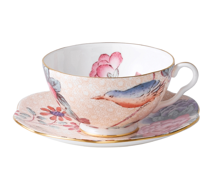 "Pretty teacups turn afternoon tea into an occasion <a href=""https://www.wedgwood.com.au/wedgwood-cuckoo-peach-teacup-saucer-set.html "">Wedgewood</a> $129"