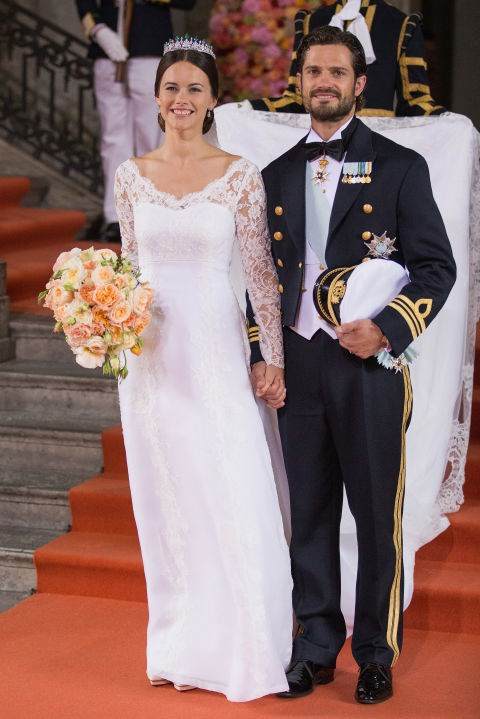 SOFIA HELLQVIST In one of this year's two royal weddings, Sofia Hellqvist married Sweden's Prince Carl Philip this June in a long v-neckline dress designed for her by Swedish couturier Ida Sjöstedt. GETTY