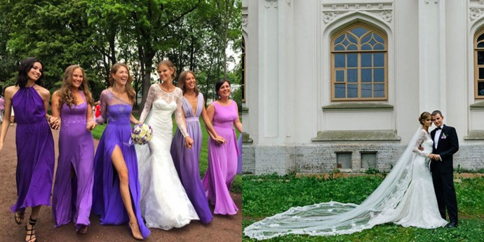 KATE GRIGOERIEVA Victoria's Secret Angel Kate Grigoerieva probably had one of the year's longest veils. She paired it with a Truly Zac Posen gown when she married her boyfriend Alexander in August.