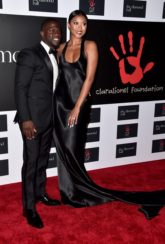 Kevin Hart and Eniko Parrish attend Rihanna's Diamond Ball, Los Angeles, December 2015.