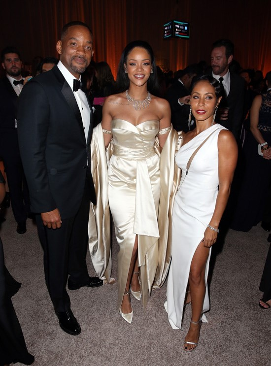 Will Smith, Rihanna and Jada Pinkett-Smith attend Rihanna's Diamond Ball, Los Angeles, December 2015.
