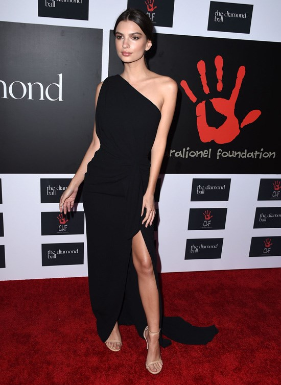 Emily Ratajkowski attends Rihanna's Diamond Ball, Los Angeles, December 2015.