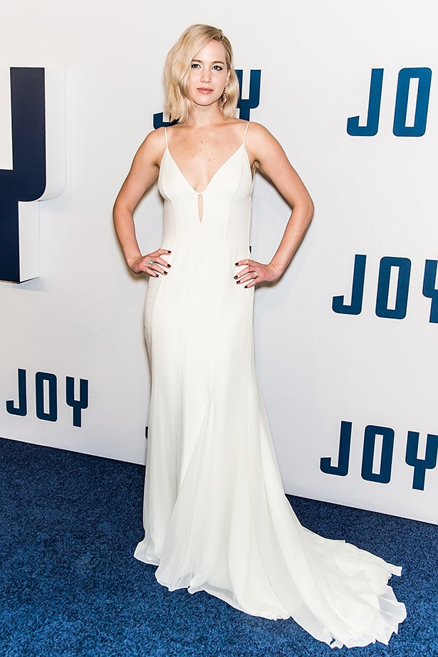 Could JLaw be ANY hotter in this slinky white number? Doubtful! Image: Getty