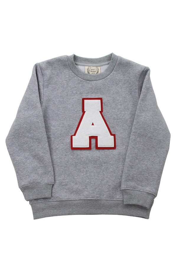 "For a preppy, monogrammed touch (plus, you can get one for #twinning too). <br><bR> Varsity jumper,$69.95, Keep it Personal, <a href=""https://www.keepitpersonal.com.au/product/varsity-jumper-kids/"">keepitpersonal.com</a>"