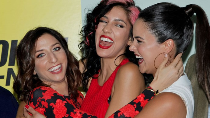 <strong>Amy, Rosa, and Gina, <em>Brooklyn Nine-Nine</em></strong> <br><br> If these three characters learned about their inclusion on this list, chances are Amy would be pleased, Rosa would protest that she doesn't do friends, and Gina would say she's far too cool to be lumped in with the two of them. But whether Amy is teaching Gina about astronomy through dance, Rosa is couching her affection for Amy in disdain, or Gina is tricking Amy and Rosa out in catsuits as thanks for them thief-proofing her apartment, they all show up for each other. It's the sort of consistent, tenacious friendship that's rare on TV. Plus, all three are killer dancers, which is totally #SquadGoals.