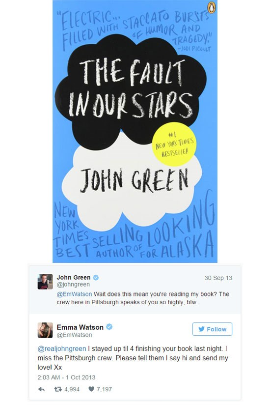 <strong>10. <em>The Fault in Our Stars</em> by John Green</strong> <br><br> We can just imagine Emma Watson perched in bed till 4 a.m., feeling all the feels this emotional young adult novel stirs up.