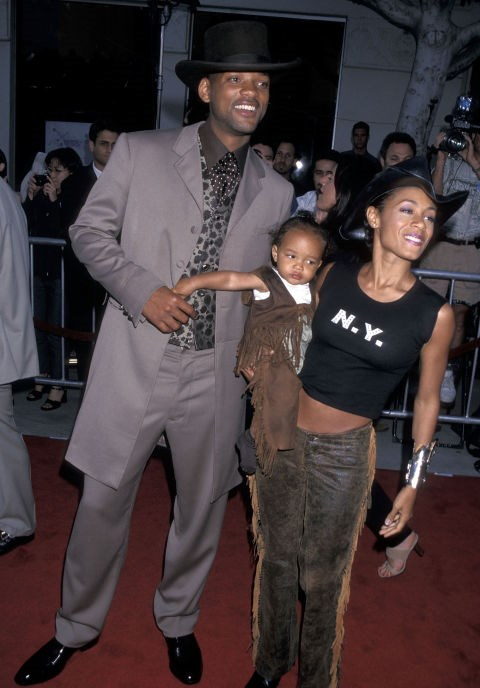 JADEN SMITH, 1, WITH FATHER WILL SMITH AND MOTHER JADA PINKETT SMITH At the Wild Wild West premiere in 1999. GETTY
