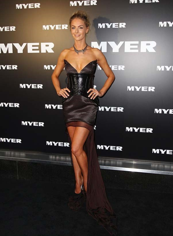 2012, March: Bold and daring in a strapless Nicola Finetti dress at the MYER A/W 2012 Collection Launch in Melbourne.