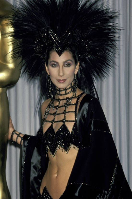 <strong>Cher at the Oscars, 1986</strong> <br><br> Perhaps one of the most adventurous Oscars ensembles of all time.