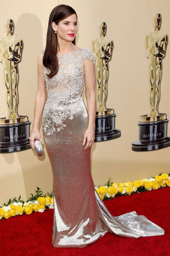 <strong>Sandra Bullock at the Oscars, 2010</strong> <br><br> This Marchesa gown was simply perfect for Sandra Bullock (who actually never seems to age), and it was the perfect gown to take away an Oscar for best actress in.