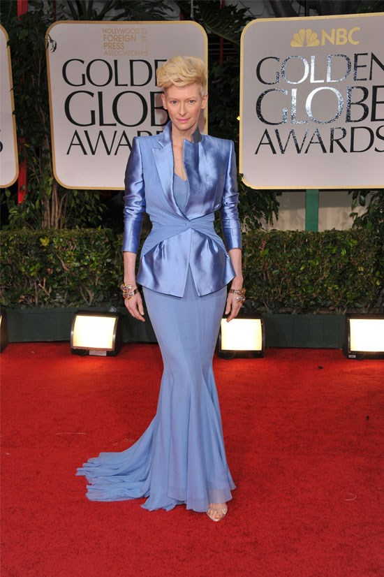<strong>Tilda Swinton at the Golden Globes, 2012</strong> <br><br> Tilda Swinton is always one to make a statement on the red carpet, and 2012 was no disappointment. She slayed in this Haider Ackermann ensemble.
