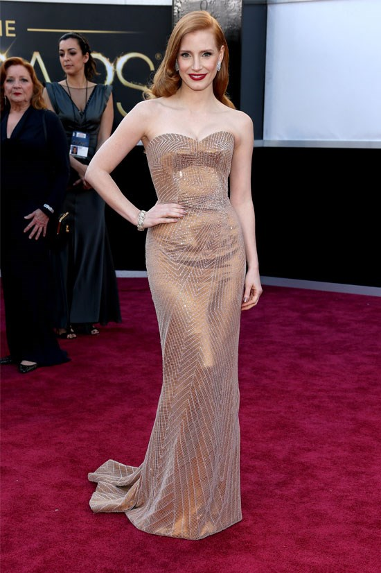 <strong>Jessica Chastain at the Oscars, 2013</strong> <br><br> Jessica Chastain looked like the ultimate movie star in this Armani Privé gown.