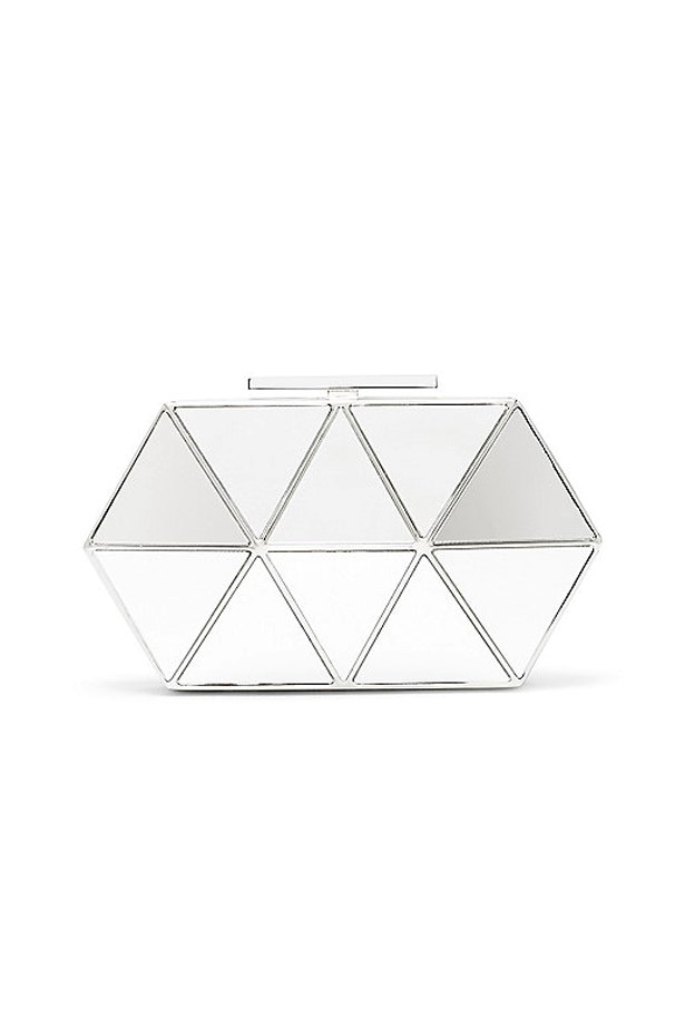 """<a href=""""http://www.vincecamuto.com/vince-camuto-aleni--metallic-triangles-minaudiere/889816061524.html"""">Vince Camuto Aleni Metallic Triangles Minaudière</a>, AU$260."""