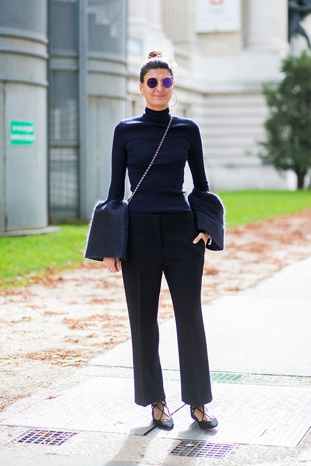 Contributing fashion editor Giovanna Battaglia is a street style favourite, her feminine style is chic and crisp, but she's unafraid to play with colour, cut and something totally unexpected.