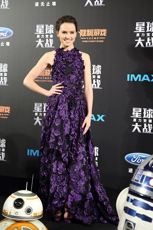 "Daisy Ridley attends ""Star Wars: The Force Awakens"" premiere at Shanghai Grand Theatre on December 27, 2015 in Shanghai, China."