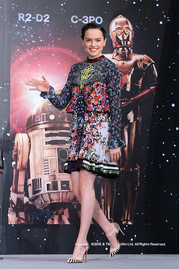 Daisy Ridley arrives for the press conference for 'Star Wars: The Force Awakens' Japan premiere at the Sheraton Grande Tokyo Bay Hotel on December 11, 2015 in Urayasu, Japan.
