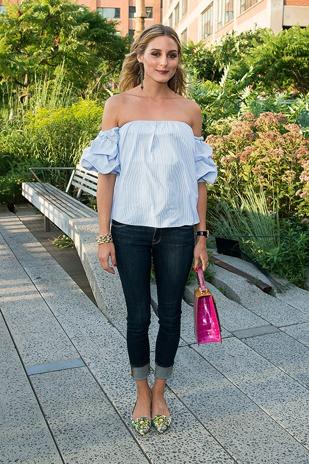 If your party is more casual backdoor BBQ this outfit by Olivia Palermo is perfect casual yet chic dressing.