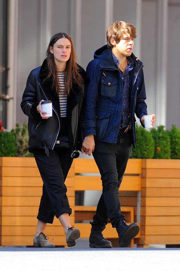 Exhibit B: Keira chooses low suede brogues over boots and swaps her jeans for black pants.