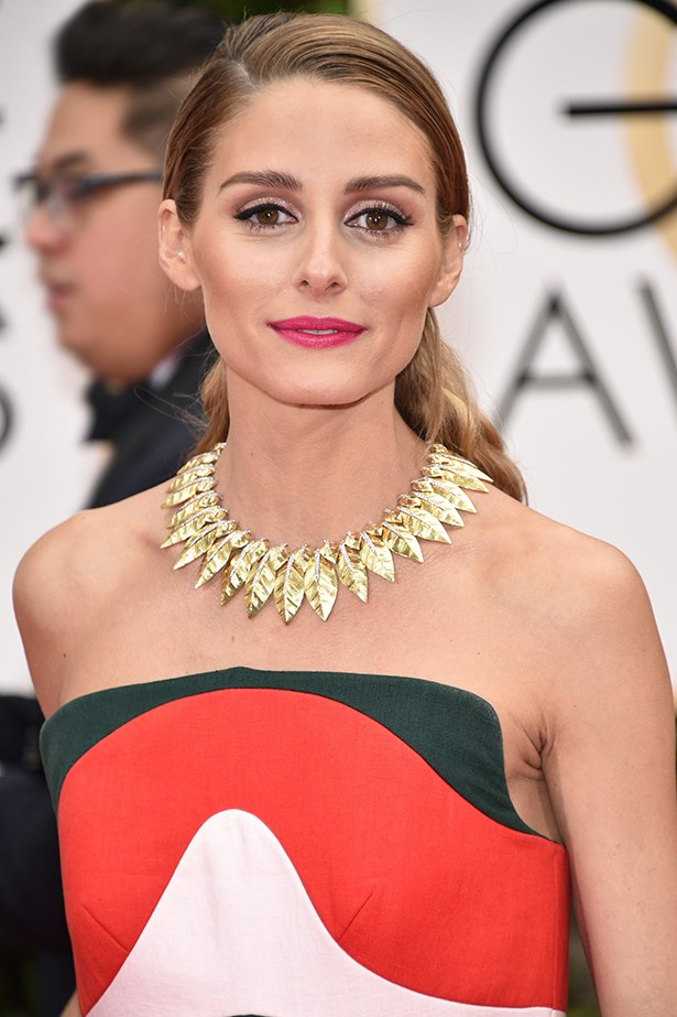<strong>Makeup Artist Daniel Martin used the following Dior Beauty products for Olivia Palermo's Golden Globes beauty look:</strong><p> <em>Face:</em><p> Diorskin Forever & Ever Wear Primer <p> Diorskin Forever Foundation #040 <p> Dior Skinflash Radiance Booster Pen #025 Diorskin Nude Air Invisible Loose Powder #030<p> Diorskin Nude Air Tan Sun Powder #003<p> Diorskin Nude Air 'Glowing Gardens' Illuminating Powder #002<p> Diorblush 'Glowing Gardens' #844 Floral Pink<p> Diorblush Sculpt Blush #004 Brown Contour<p> <p> <em>Eyes:</em><p> Diorshow Iconic Overcurl Mascara #090<p> <p> <em>Lips:</em><p> Rouge Dior Lipstick #671 Deauville<p> Contour Lipliner #663 Elite Pink<p>