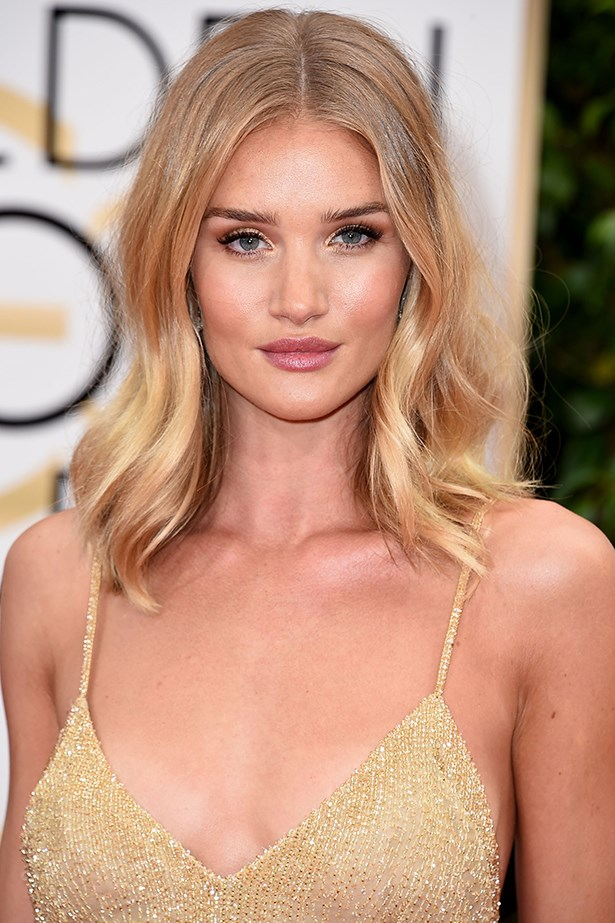 <strong>Makeup Artist Monika Blunder used the following Dior Beauty products for Rosie Huntington-Whiteley's Golden Globes beauty look:</strong><p> <p> <em>Face:</em><p> Dior Glow Maximizer<p> Diorskin Forever Foundation #030<p> Diorskin Nude Air 'Glowing Gardens' Illuminating Powder #002<p> Diorblush Sculpt #004 Brown Contour<p> <p> <em>Eyes:</em><p> 'Sourcils Poudre' Pencil #433 Ash Blonde<p> Diorshow Mascara #090 Pro Black<p> 5 Couleurs Eyeshadow #451 Rose Garden<p> Diorshow Colour & Contour #557 Twig<p> Diorshow Art Pen #095 Catwalk Black<p> Waterproof Eyeliner Pencil #594 Intense Brown<p> <p> <em>Lips:</em><p> Dior Addict Lip Glow <p> Dior Addict Lipstick #535 Tailleur Bar<p>
