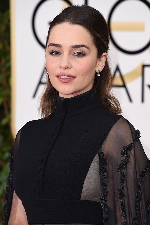 <strong>Makeup Artist Sabrina Bedrani used the following Dior Beauty products for Emilia Clarke's Golden Globes beauty look:</strong><p> <p> <em>Face:</em><p> Capture Totale Multi-Perfection Crème - Light Texture<p> Diorskin Forever Foundation #010 Ivory<p> Diorblush #756 Rose Cherie<p> <p> <em>Eyes:</em><p> 5 Couleurs 'State of Gold' Eyeshadow #576 Eternal Gold<p> Diorshow Khôl Stick #789 Smoky Brown<p> Diorshow Mascara #090 Pro Black<p> Diorshow Brow Styler #002 Universal Dark Brown<p> <p> <em>Lips:</em><p> Rouge Dior Lipstick #459 Charnelle<p>