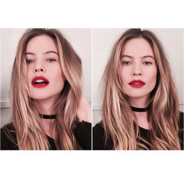 @behatiprinsloo is a vision teaming her choker with a statement red lip.