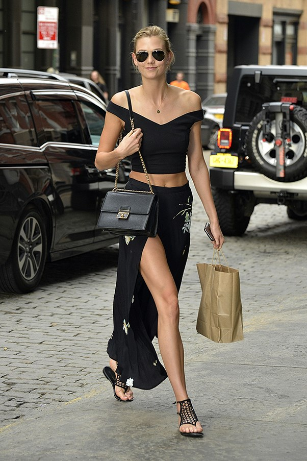Model Karlie Kloss street style in New York City