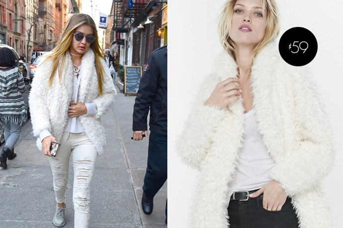 "Gigi Hadid's <a href=""http://www.express.com/clothing/women/sherpa-wedge-jacket/pro/8872540C/cat890004?AID=11388515&PID=7131624&CID=550&pubname=Skimlinks&pubID=3640649&SID=skim74968X1525079Xffca5dc38255600e7b0bfcbac1cd78ef"">Sherpa Wedge jacket by Express</a> is only $59.99."