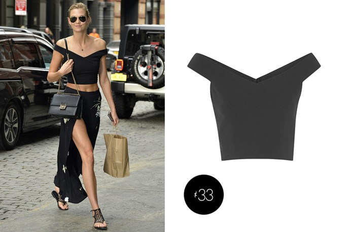"Karlie Kloss got her sweet <a href=""http://au.longtallsally.com/p/tall/ttya-crop-top-08T45#08T45BLA"">crop top from Long Tall Sally</a> for $33."