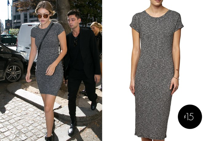 "Gigi Hadid's <a href=""http://cottonon.com/"">grey 'Andrea' midi dress from Cotton On</a> is only $15."