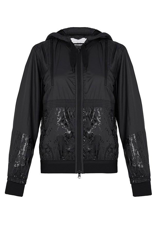"""Jacket, $200, Adidas by Stella McCartney, <a href=""""https://www.modesportif.com/shop/product/adidas-by-stella-mccartney-run-clima-jacket-in-black/"""">modesportif.com</a>"""