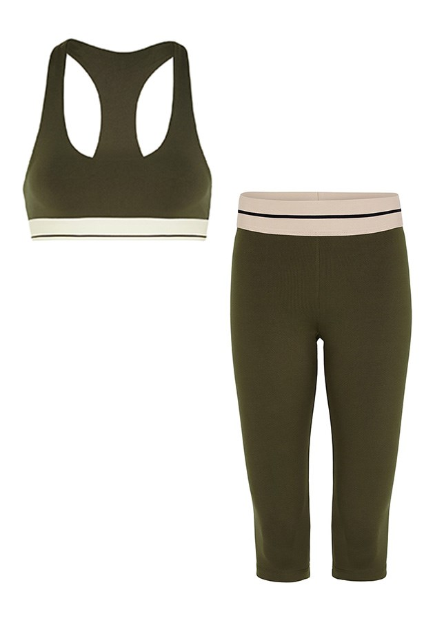 """<strong>Left:</strong> Crop top, $125, Olympia Activewear, <a href=""""https://www.modesportif.com/shop/product/olympia-activewear-alta-crop-top-in-army/"""">modesportif.com</a> <br><br> <strong>Right:</strong> Tights, $140, Olympia Activwear, <a href=""""https://www.modesportif.com/shop/product/olympia-activewear-kore-crop-tights-in-army/"""">modesportif.com</a>"""