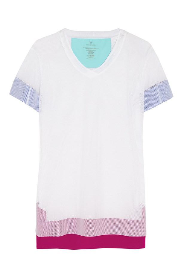 "T-shirt, $235, Lucas Hugh, <a href=""http://www.net-a-porter.com/au/en/product/639162/lucas_hugh/stretch-mesh-t-shirt"">net-a-porter.com/au</a>"