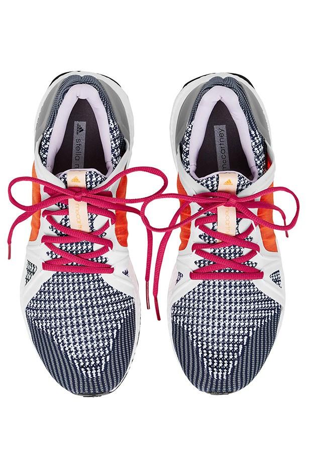 "Sneakers, $290, Adidas by Stella McCartney, <a href=""https://www.modesportif.com/shop/product/adidas-by-stella-mccartney-ultra-boost-in-dark-bluelavender/"">modesportif.com</a>"