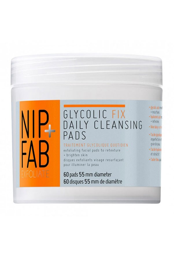"""<strong><a href=""""https://www.priceline.com.au/brand/nipfab/nip-fab-glycolic-fix-daily-cleansing-pads-60-pack"""">Glycolic Fix Daily Cleansing Pads 60 pack, $34.99, NIP+FAB, priceline.com.a</a>u</strong> <br><br> These pre-soaked wipes are loaded with exfoliating glycolic acid and calming witch hazel for easy 'swipe and go' glow."""