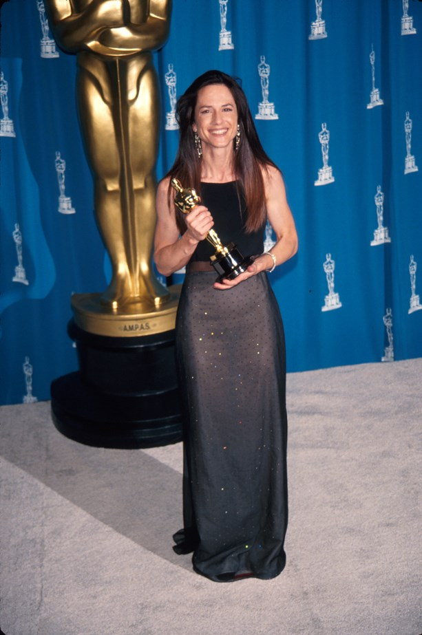 Holly Hunter wore a dark, sheer dress in 1993.