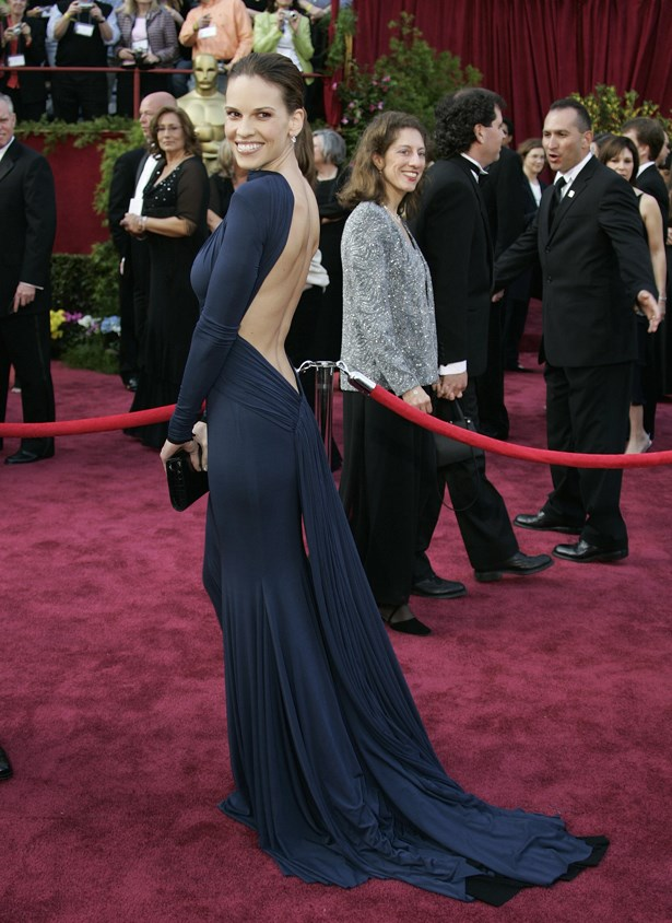 For her second Oscar win, Hillary Swank went ultra sexy in a slinky, backless Guy Laroche piece.