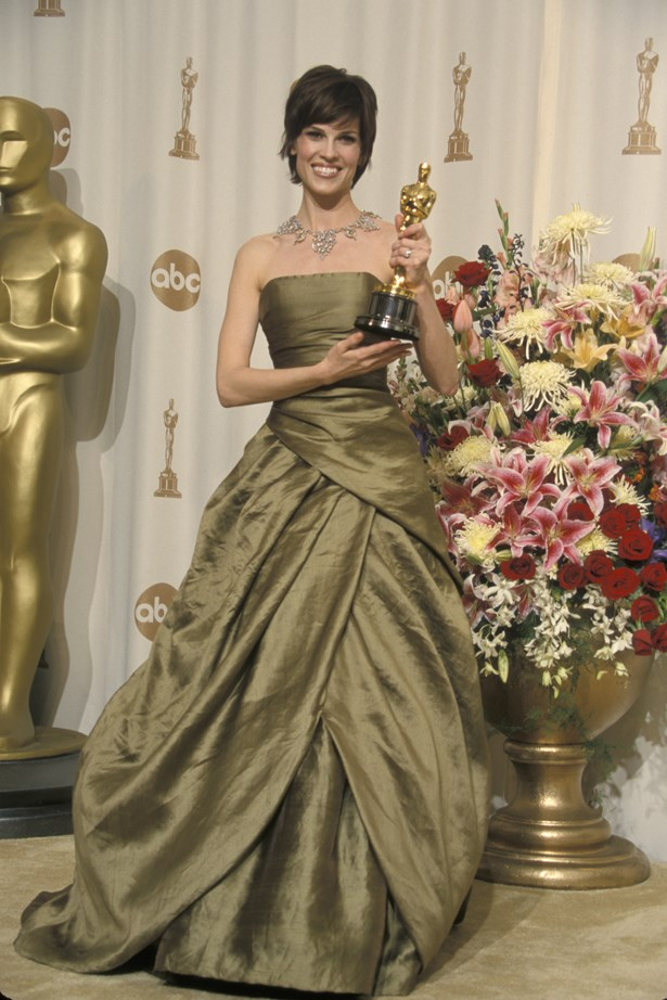 Hillary Swank's first Oscar win in 1999 saw some serious olive silk take the stage.