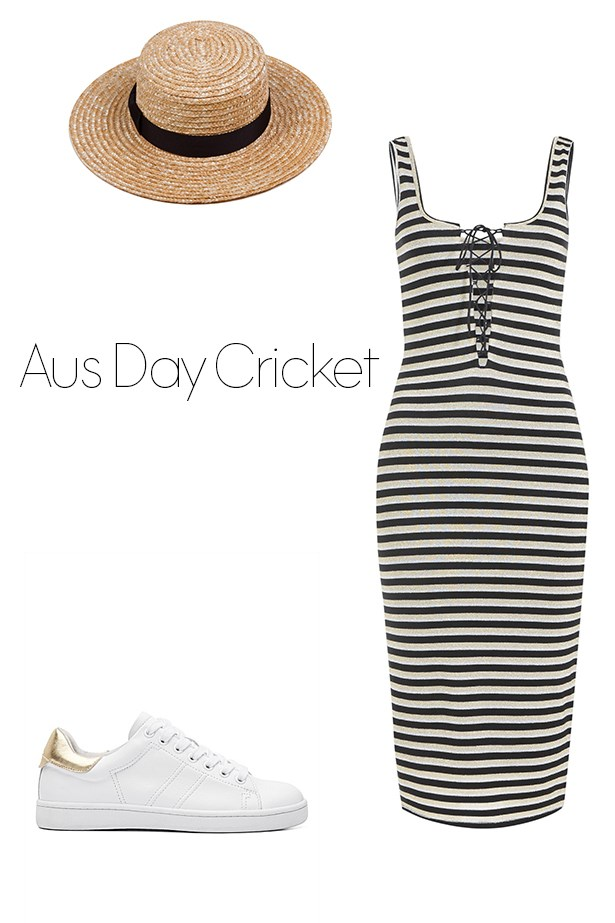 """<p><strong>Australia Day Cricket</strong></p> <p><a href=""""https://www.bardot.com/bardot/merchandising/ladies-trends/the-festival-edit/monty-lace-dress/"""">Striped dress</a>, $60</p> <p><a href=""""http://www.lackofcolor.com.au/product/the-spencer-boater/"""">Straw hat</a>, $59</p> <p><a href=""""http://www.witchery.com.au/shop/new-in/woman/60194834/Liam-Sneaker.html"""">Sneakers</a>, $129</p>"""