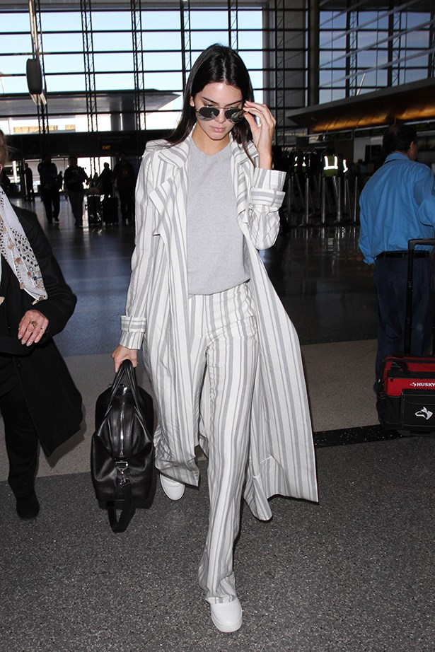 Kendall's pajama party look was perfect for a long flight.