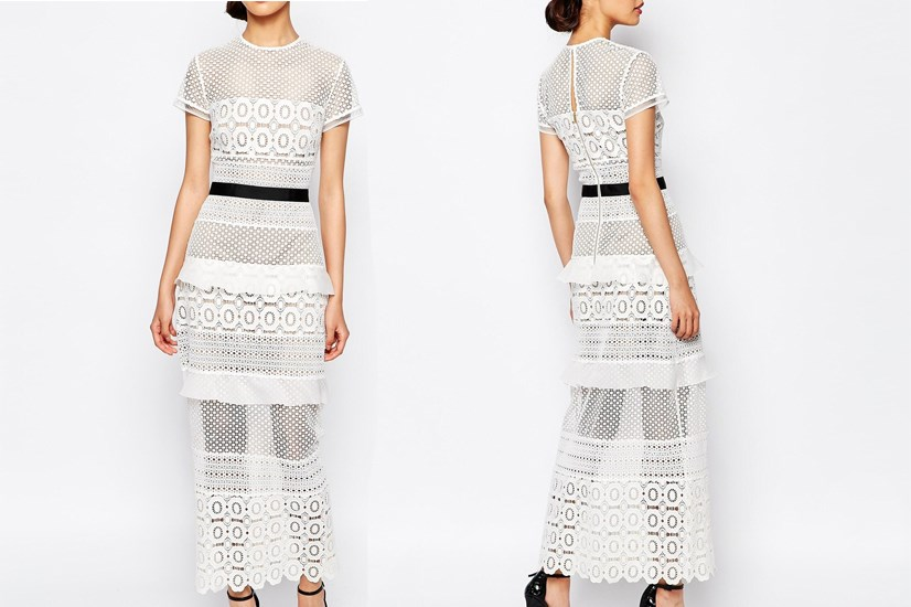 "<a href=""http://www.asos.com/au/self-portrait/self-portrait-oblique-lace-column-midi-dress/prod/pgeproduct.aspx?iid=5897751&clr=Whiteblack&SearchQuery=wedding&pgesize=25&pge=0&totalstyles=25&gridsize=3&gridrow=1&gridcolumn=3"">Self Portrait Oblique Lace Column Midi Dress</a>, $540.00."