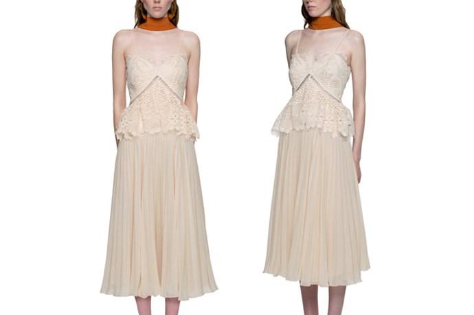 "<a href=""http://www.self-portrait-studio.com/new-arrivals/lace-peplum-midi-dress"">Self-Portrait Lace Peplum Midi Dress</a>, 580.00"