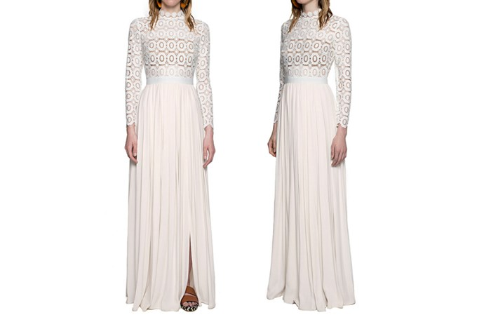 "<a href=""http://www.self-portrait-studio.com/new-arrivals/pleated-crochet-floral-maxi-dress"">Self-Portrait Pleated Crochet Floral Maxi Dress</a>, $652."