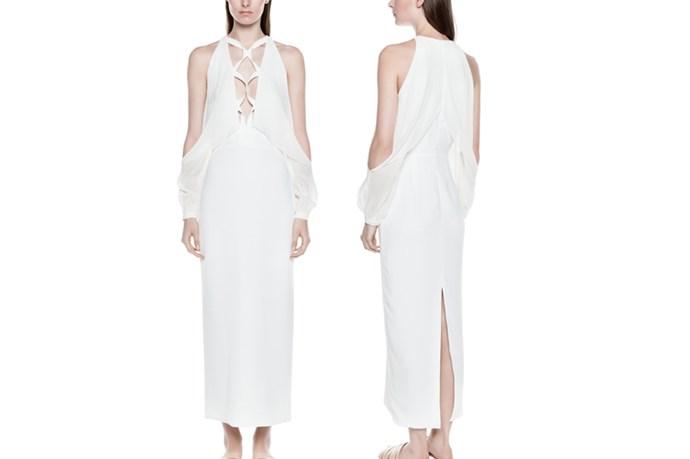 "<a href=""https://www.dionlee.com/shop/dion-lee/dresses/laced-blouson-dress-a9146-r16/268039"">Dion Lee Laced Blouson Dress</a>, $1,290."