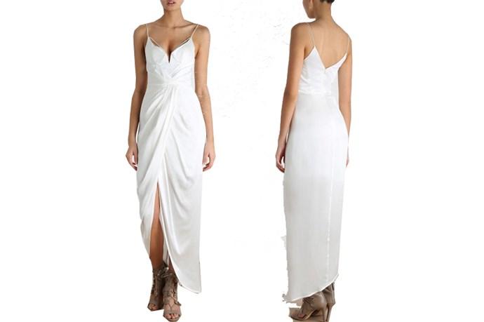 "<a href=""https://www.zimmermannwear.com/sueded-balconette-long-dress-natural.html"">Zimmermann Sueded Balconette Long Dress</a>, $250."