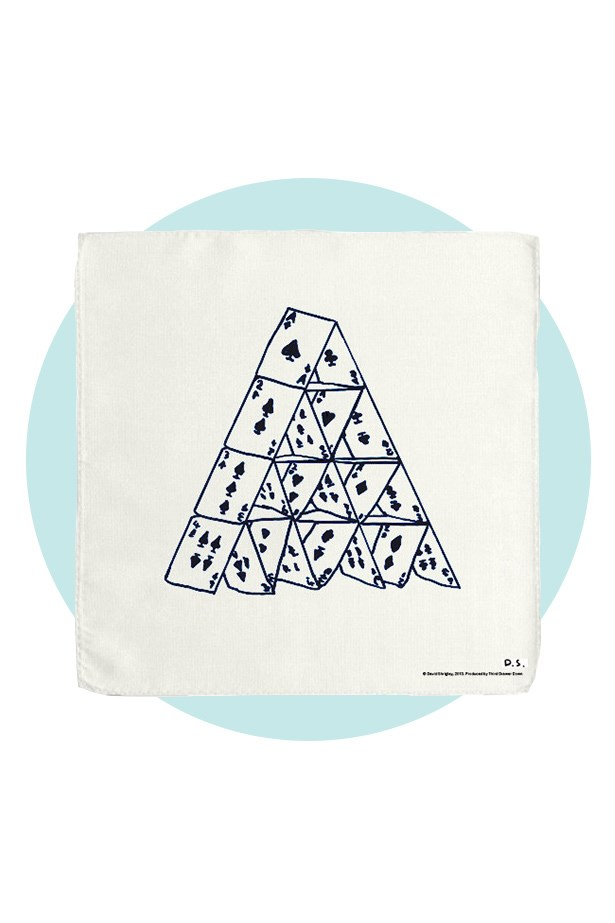 A modern design for a classic gentleman. <br><br> Handkerchief, $26, David Shrigley X Third Drawer Down, thirddrawerdown.com