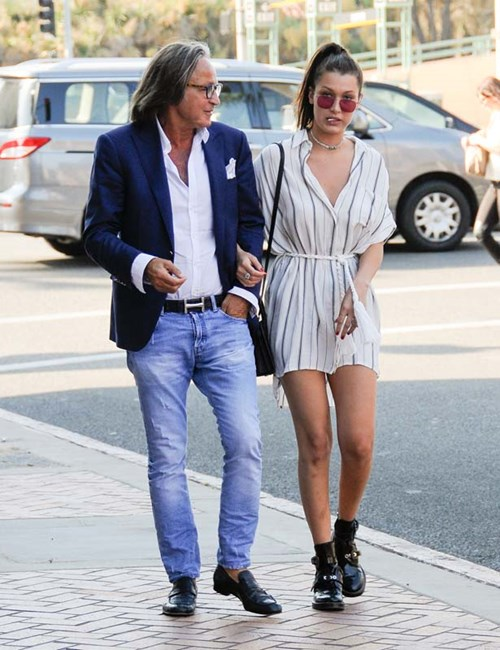 Bella out and about with her dad in LA.